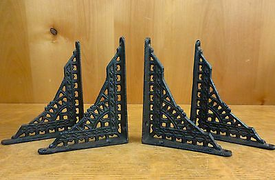 "4 SMALL BROWN ANTIQUE-STYLE 5"" CAST IRON SHELF BRACKETS garden rustic EASTLAKE"