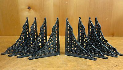 "8 SMALL BROWN ANTIQUE-STYLE 5"" SHELF BRACKETS CAST IRON garden rustic EASTLAKE"