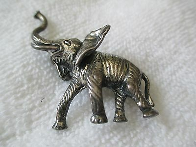 Vintage costume Silver toned elephant pin brooch Naper 1922