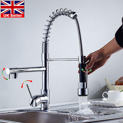 UK LED Monobloc Chrome Brass Kitchen Sink Pull Out Spray Faucet Mixer Water Tap