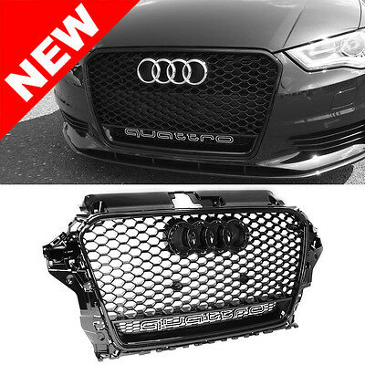 2015+ Audi A3/S3 8V RS3 Quattro Style Mesh Grille and Emblem - Gloss Black