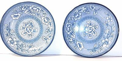 Lot of 2 GIDANG ART MUSEUM Decorative Collector KOREAN BOWLS Blue White Floral