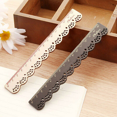 1pcs Wooden Ruler Lace Wood Vintage Cute Stationery School Office Sewing 15cm