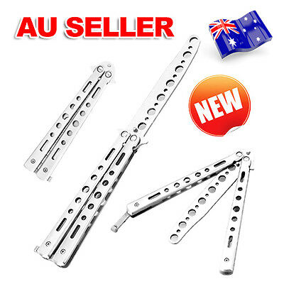 Folding Stainless Butterfly Knife Balisong Dull Blade PracticeTraining Trainer