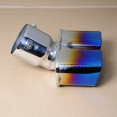 WO Car Burnt Colorful Square Dual Slant Exhaust Muffler Tail Pipe Tip Inlet 73mm