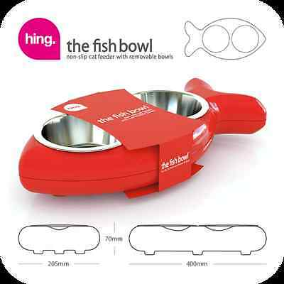 Hing FBR08 Fish Shaped Cat Bowl Rubber and Metal Design Easy Clean - Red - New