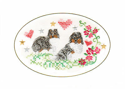 FREE PERSONALISATION Shetland Sheepdog Birthday Card Embroidered by Dogmania