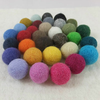 15mm (1.5cm) Plain 100% Wool Felt Balls Handmade