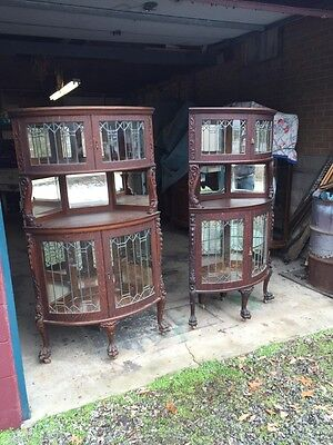 Br  Matched Pair Antique All Carved Oak Corner Bookcases W/leaded Glass Doors