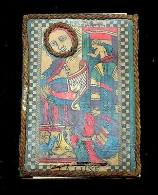 Late 1800's Lombardy French Tarot La Lune Card Matchstick Box w/Matches