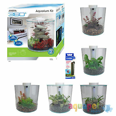 Marina 360 Aquarium 10L Tropical Tank with LED Lighting and Optional Decor Kit