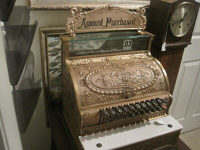 ANTIQUE National Cash Register, Ornate Brass Register with Top Sign