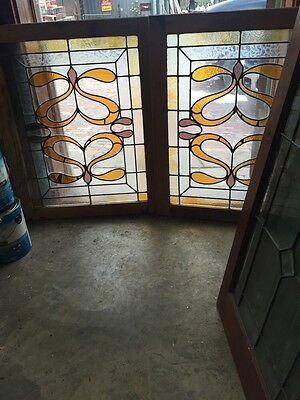 Sg 431 Matched Pair Antique Stained Glass  Windows