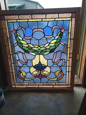 Sg 432 Antique Very Colorful Stained Glass  Landing Window With Jewels
