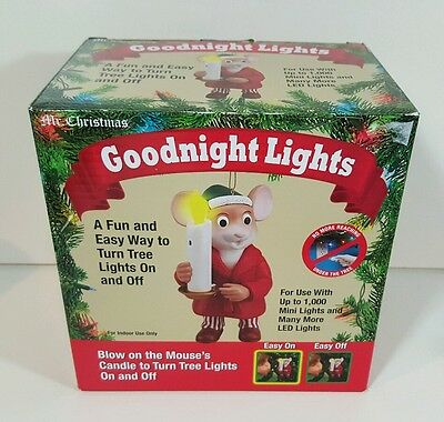 Mr Christmas Goodnight Lights Mouse Candle Light Ornament New