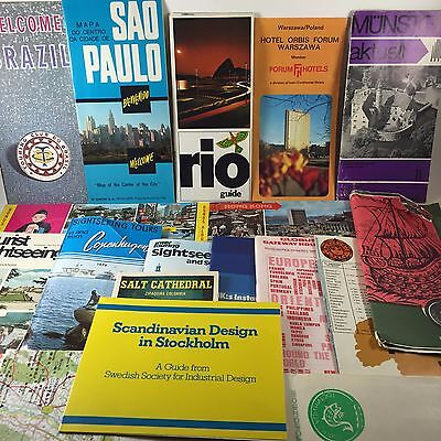 Mixed Vintage Lot of 19 Misc. Worldwide Travel Brochures-Maps-Postcards-Tourist