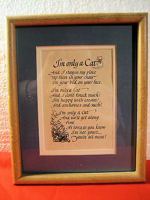CUTE FRAMED & MATTED 1980's HALLMARK PRINT I'M ONLY A CAT POEM VERSE CAT LOVERS