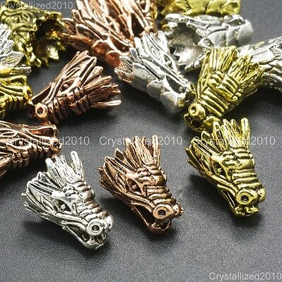 Solid Metal Dragon Head Bracelet Necklace Connector Charm Beads Silver Rose Gold