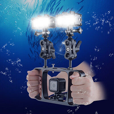Dual Handheld Grip Diving Flashlight Light Arm kit for GoPro 1 2 3 4 session