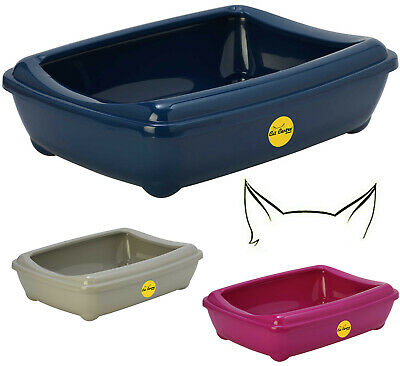 Cat  Large Litter Tray With Rim 50x38x14cm 6 Colours Quality Box Pan Toilet Loo