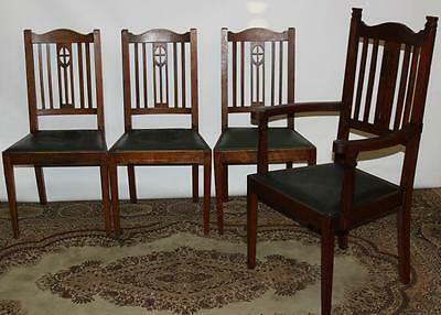 Set of 4 Antique Oak Dining Chairs 1930s - FREE Delivery [PL1875]