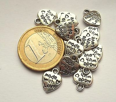 "Lotto 15 Charms In Argentone Cuore Con Scritta ""made With Love"" Mm 12X10"