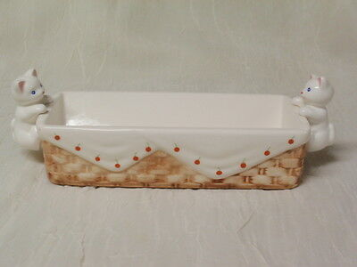 Ceramic Cat Handle Relish / Nut Tray From Estate Sale