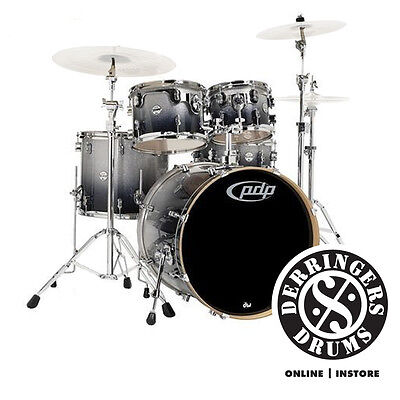 PDP by DW Concept Maple 5 Piece (CM5) Kit - Silver to Black Sparkle Fade