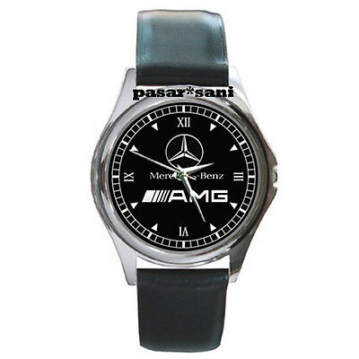 NEW MERCEDES BENZ AMG Custom Round Metal Leather Men's Watch Watches