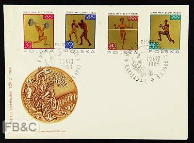 1964 Tokyo Olympics Poland Cover - Warsaw Cancels - 4 Stamps