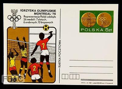 1976 Montreal Olympics Poland Card - Volleyball