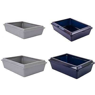 Cat Litter Tray 50x37x11cm & 42x30x10cm 2 Colours Quality Box Pan Toilet Loo