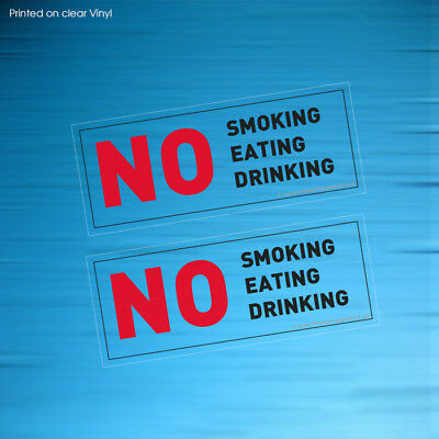 2 X No Smoking Eating Drinking Clear Sign Taxi Mini Cab Car Stickers(Stkpn00081)