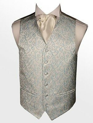 Mens / Boys Wedding waistcoats UK Designer branded premium  Baby Blue Swirls