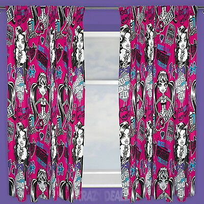 "Monster High Fear Pleated Curtains 66"" Wide 54"" or 72"" Drop Gift"