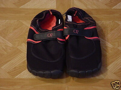OP Women's Black/Coral Aqua Sock Beach and Poolside Water Shoes Size 11-12 XL