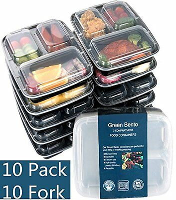 10 Pack 3 Compartment Food Container for Portion Control With Forks