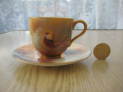 Rare Early Royal Worcester Signed Sedgley Hand Painted Cup Saucer Heavy Gilt B
