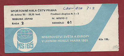 Orig.ticket   Icehockey World Champ. CSSR 1985  FINAL ROUND   CANADA - USA  !!