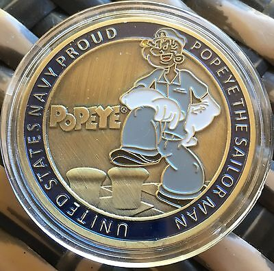 Popeye Coin Medallion Finished In Brass .999 1oz Plated Navy Sailor Man 40mm New