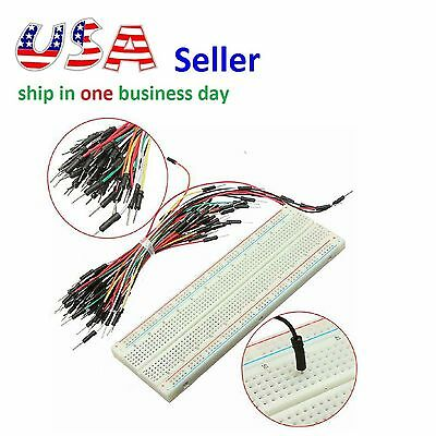 830 Tie Points Solderless PCB Breadboard MB102 + 65Pcs Jumper Cables for Arduino