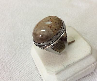 Natural Mens Agate Rings Fossilised Aqeeq Stone Unique vtg Asian Islamic 10 US