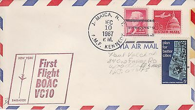 (USO-354) 1967 USA 3stamps 1st flight NY to Barbados (354LY)