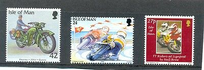 Isle of Man-Motorcycles 3 stamps mnh