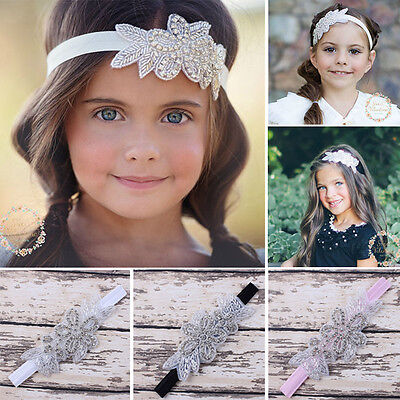Baby Girls Pearl Flower Leaves Hair Band Rhinestone Headband Wedding Photo Props