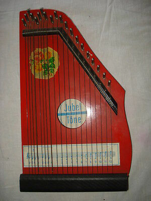 VINTAGE OLD 1960-65's GERMANY JUBEL TONE ZITHER 20 STRINGS PAINTING WOOD DDR