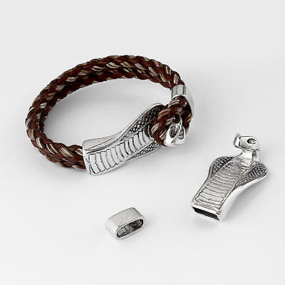 3 Sets Antique Silver Snake End Cap Bracelet Clasp For 5mm Round Leather Cord