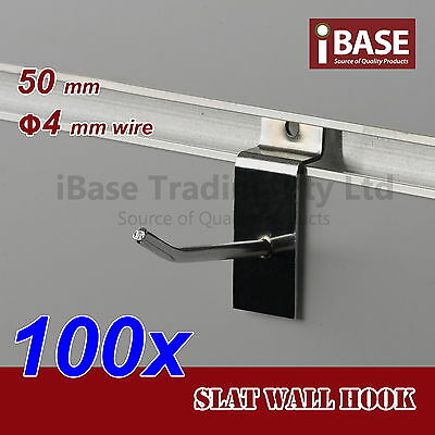 100 x SLAT WALL HOOK SLATWALL PANEL GROOVED DISPLAY BOARD CHROME METAL 50MM 4MM
