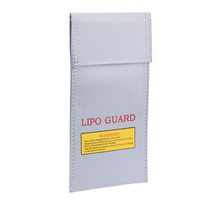 Lipo Battery Fireproof Bag Storage Safe Charging Holder 10cm x 20cm Silver Tone