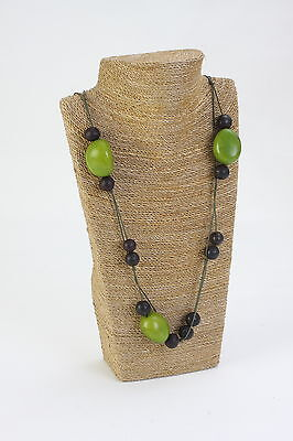 Tagua Nut (Vegetable Ivory) & Natural Seeds Necklace Green from Peru Eco Gifts